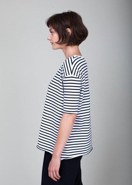 Tee Lab French Tee - White/Navy Stripe