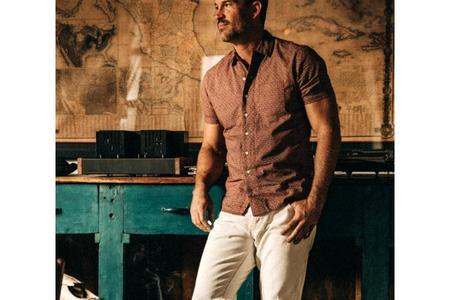 Taylor Stitch The Short Sleeve Hawthorne Shirt - Burgundy Trellis