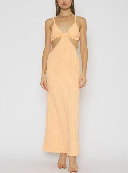 4Sienna Ribbed Cut Out Maxi Dress - Orange