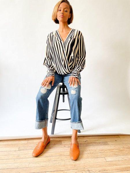 [Pre-loved] Rag & Bone The Lei Stripe Blouse - Cream/Black