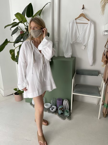 Bohème Goods Tie Dress - White Gauze
