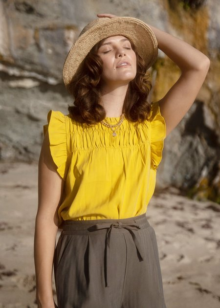 Mabel and Moss Lily Smocked Yoke Top - Sunflower
