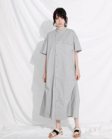 F/CE ASYMMETRIC UF LONG SHIRT DRESS - GRAY