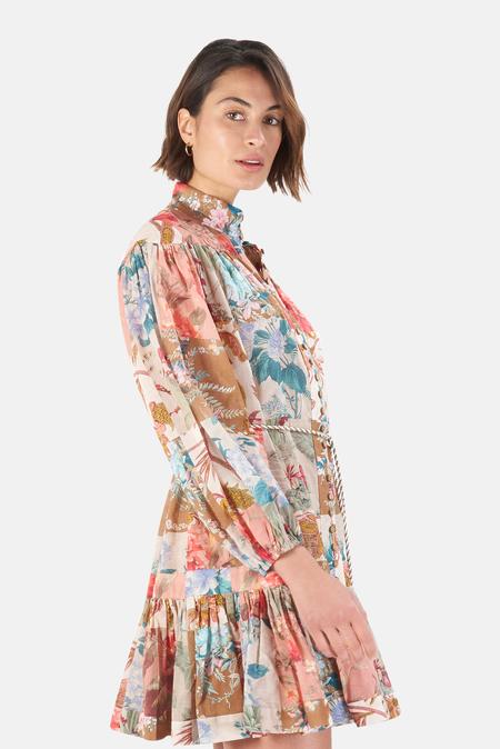 Zimmermann Cassia Drop Waist Mini Dress - Patchwork Floral