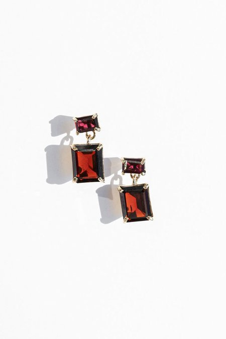 FARIS Gem Drops earring - Bronze/Garnet