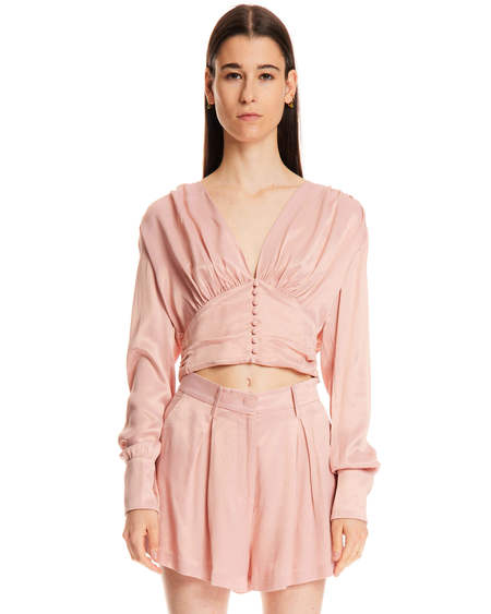 Rotate V Neck Blouse - Pink