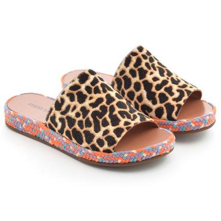 Ariana Bohling Daisy Sandal - Leopard Haircalf