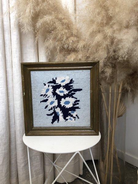 vintage FRAMED FLORAL CROSS STITCH - Blue