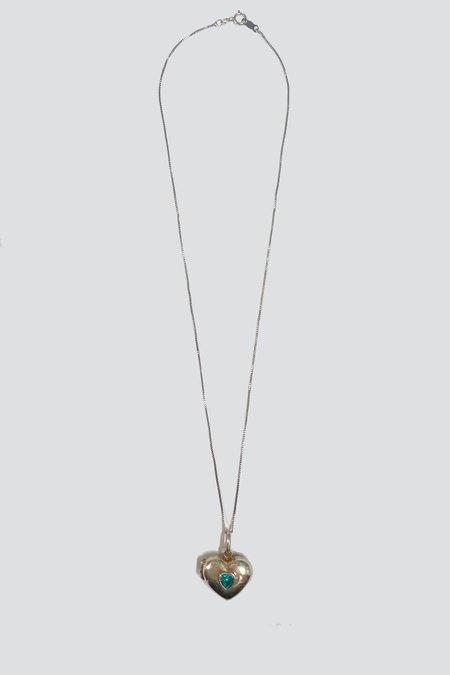 Vintage Blue TopazInlay Heart Locket Necklace - Sterling Silver