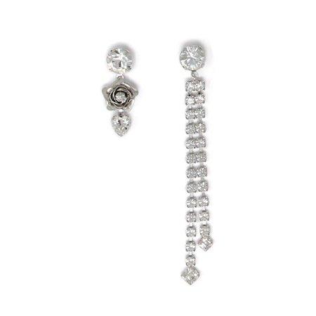 Joomi Lim Asymmetrical Crystal Fringe & Flower Earrings
