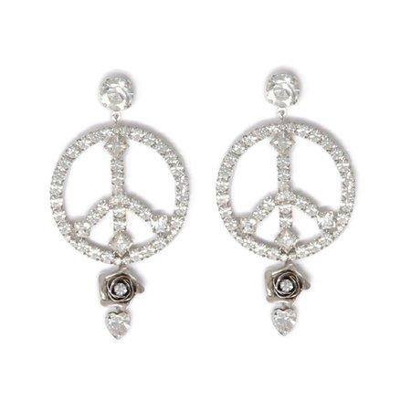 Crystal Peace Sign & Flower Earrings