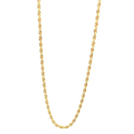 Silver Girl Rope Chain Necklace - Gold