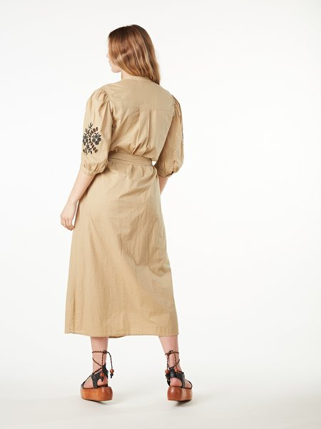 Ottod'Ame Flared Embroidered Cotton Dress - MOU/NERO