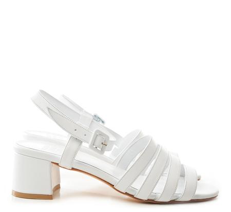 Maryam Nassir Zadeh White Calf Palma Low Heel Sandals