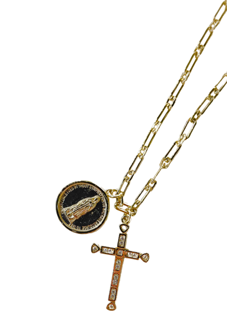 SS JEWELRY Mary and Cross Charm Bracelet