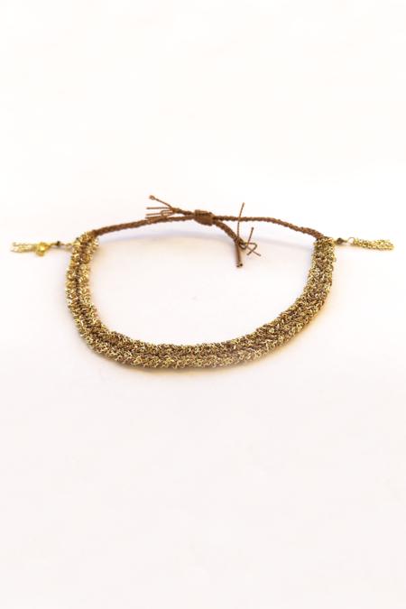 Marie Laure Chamorel Silk Bracelet - Gold/Beige
