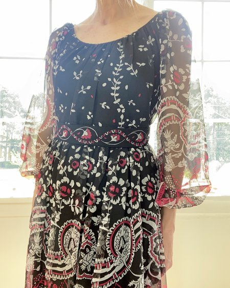Vintage Italian Silk Chiffon Dress - Floral