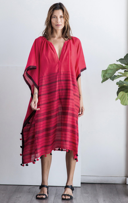 Two New York Red Pom Pom caftan