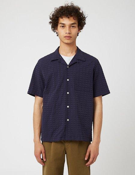 Bhode Cuca Cuban Collar Shirt - Navy Blue