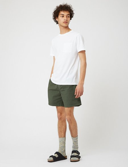 Bhode Drawstring Seersucker Shorts - Green