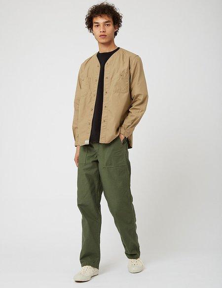 Orslow No Collar Shirt - Khaki