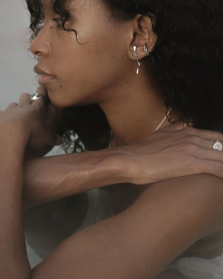 Pamela Love Braided Serpent Ear Jacket earrings - sterling silver
