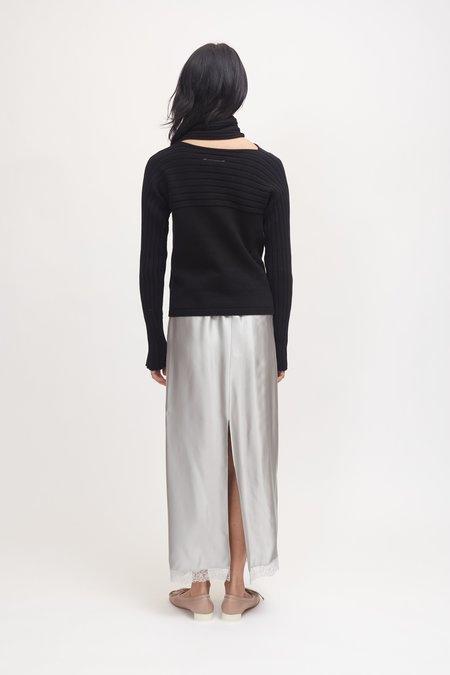 Maison Margiela Cross-Over Ribbed Sweater - Black