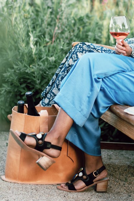 Maliparmi Stone & Leather Block Heel Sandal - Black