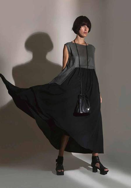 MiiN Linen and Jersey Swing Dress - Black/Khaki