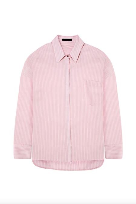 KES Oversized Pinstripe Button Down shirt - Pink Sundew Stripe