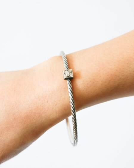 [Pre-loved] David Yurman Pave Diamond Cable Bracelet - Silver