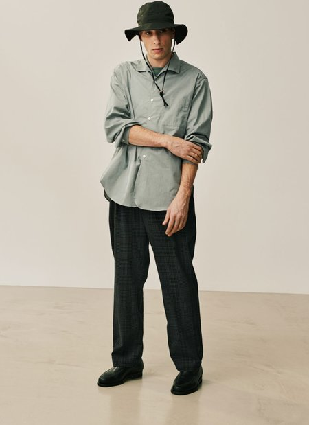 PHIGVEL MAKERS & Co Seersucker Easy Check Trousers - Black Watch