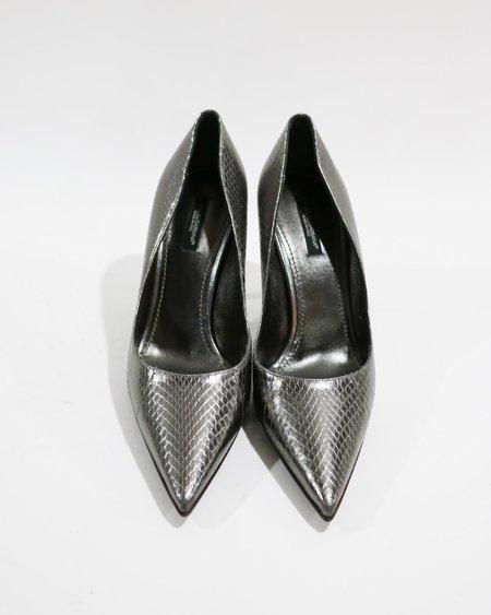 [Pre-loved] Dolce & Gabbana Metallic Embossed Pumps - Silver