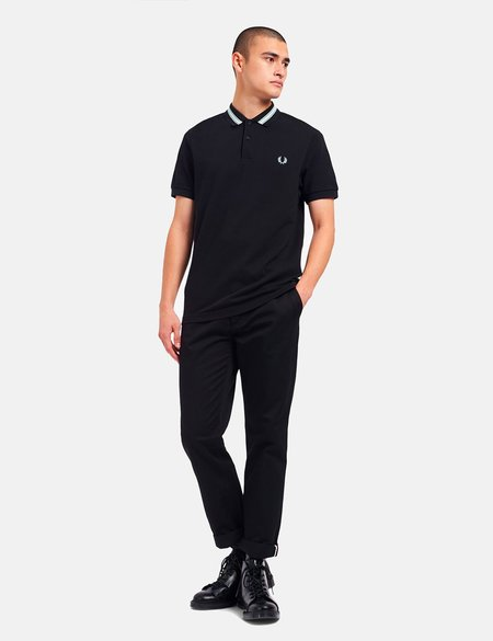 Fred Perry Tramline Tipped Polo Shirt - Black