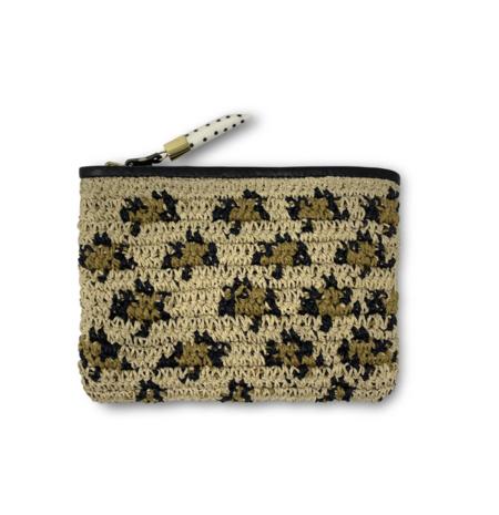 Kempton & Co. Raffia Small Pouch - Leopard