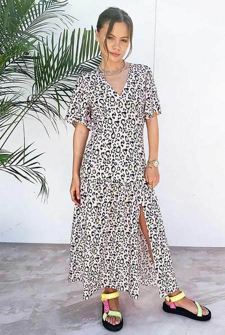NEVER FULLY DRESSED Clover Dress - PINK LEOPARD
