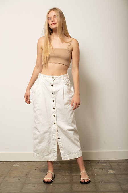 Vintage Button Down Skirt - White