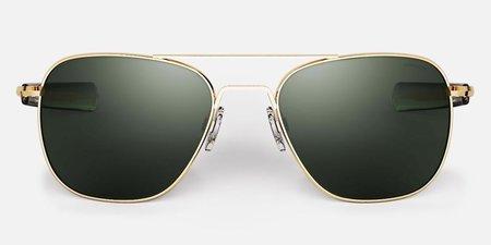 Randolph Engineering Aviator Polarised sunglasses - gold/dark green