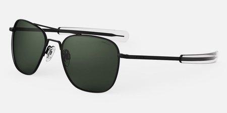 Randolph Engineering Aviator Polarised sunglasses - matt black/dark green