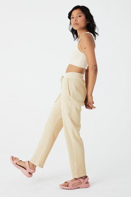back beat rags Organic Cotton Waffle Thermal Pant - Creme
