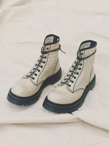 Departamento x Premiata Croc Leather Combat Boot - Ivory