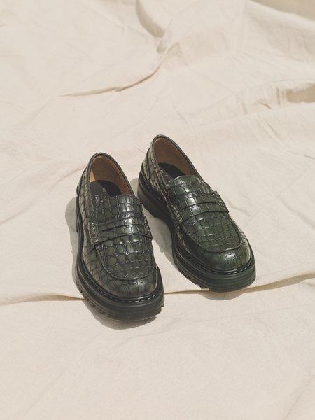 Departamento x Premiata Croc Leather Combat Loafer - Moss Green