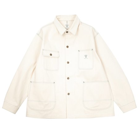 South2 West8 10OZ DENIM COVERALL JACKET - OFF WHITE