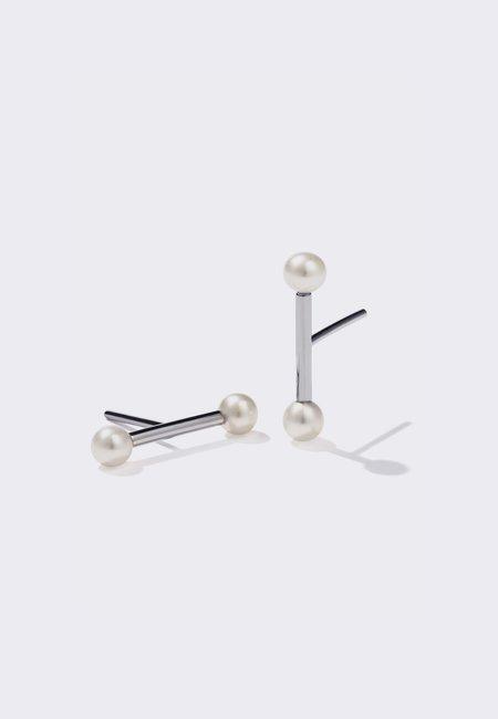 Silver Lunar Barbell Stud Earrings - Silver