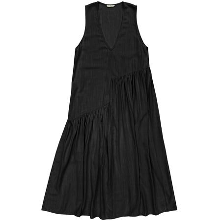 Ali Golden V-Neck Gathers Dress - Black