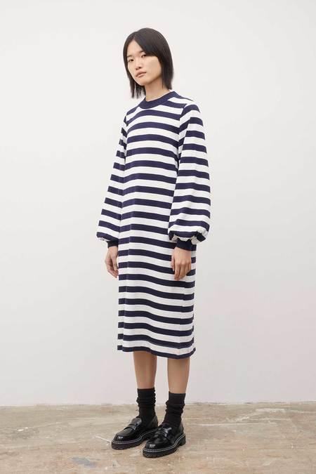 Kowtow Gather Sleeve Dress - Stripes