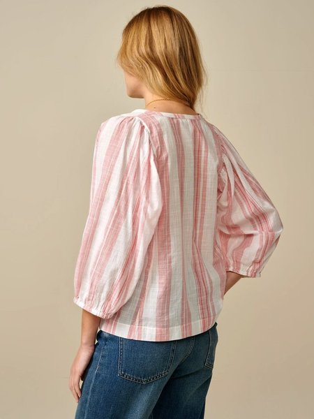 Bellerose Iowa Stripe Blouse - White/Red
