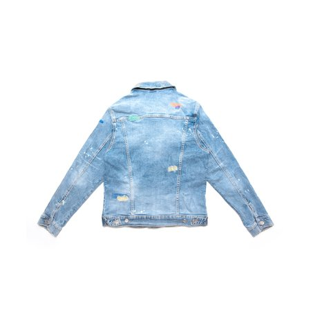Embellish Iris Denim Jacket - blue