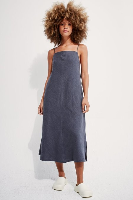 back beat rags Linen Apron Dress - Cement