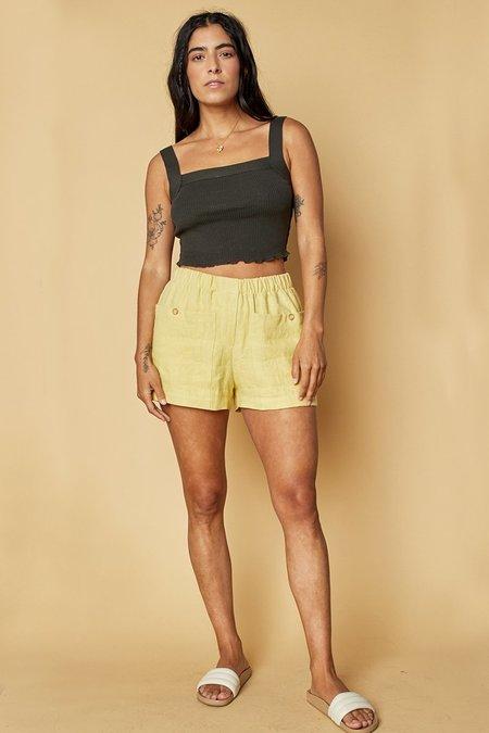 back beat rags Linen Boxer Shorts - Lime